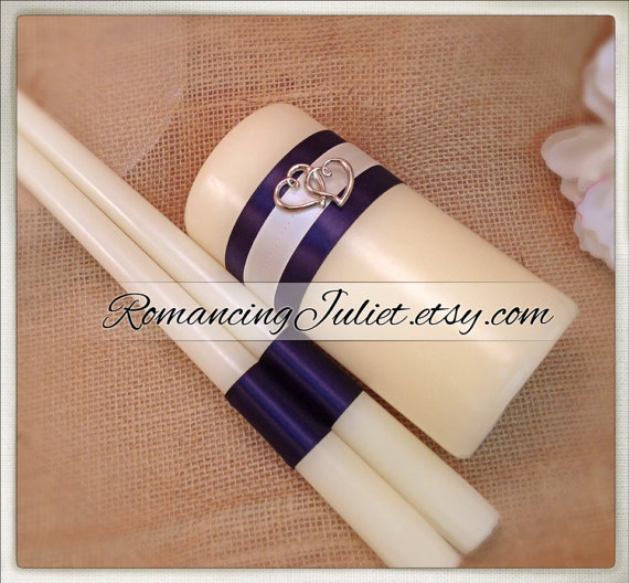 Wedding - Custom Colors Elite Unity Candle 3 Piece Set with Two Hearts Accent....You Choose The Ribbon Colors...shown in ivory/navy blue