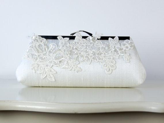Mariage - Alencon  Lace Applique Silk Clutch, wedding clutch, wedding bag, bridesmaid clutch, Bridal clutch, Purse for wedding