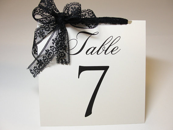Wedding - Lace Wedding Table Number Cards, Tent Style, by Lavender Paperie on Etsy