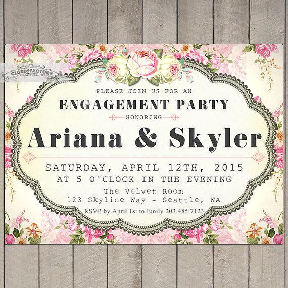 Wedding - Pink Engagement Party Invitations Printable Invite Garden Party Shabby Chic vintage Style NO.718