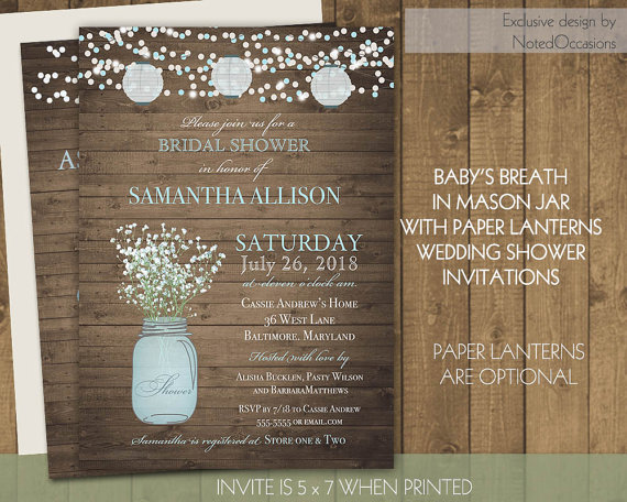 paper lanterns bridal shower invitations mason jar babys breath barn wood fairy lights wedding shower diy shower invite digital printable