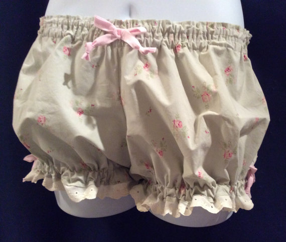 Wedding - Size Small Womens Cotton Bloomers Vintage Shabby Chic khaki and pink Rose print trimmed in white Eyelet