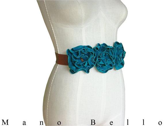 Mariage - Wedding Flower Sash Turquoise Bridal Sash, Leather Flower Belt, Custom Wedding dress belt, Statement Belt,  on Acorn Tan