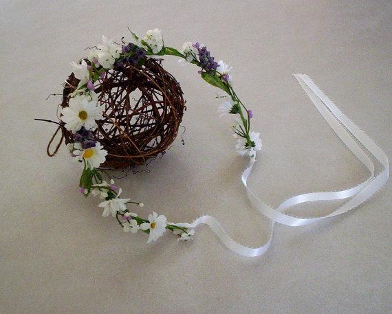 Wedding - Daisy lavender hair wreath fairy circlet Bridal wedding hair accessories purple lavender headband flower crown hair garland bride headpiece