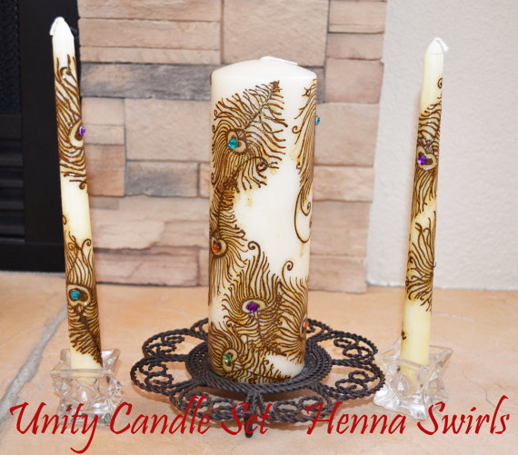 Wedding - Peacock Unity Henna Candle Set, Original, Wedding Centerpiece, Global Henna Art