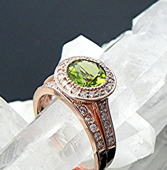 Свадьба - 7mm  1.35 Carat AAA Round Natural untreated  Peridot  set in 14K Rose gold bridal set with .35cts of diamonds. B007 1469