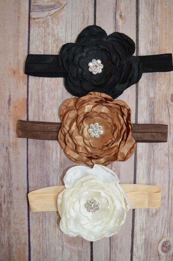 Wedding - You Pick Pink Satin Rose Lace Headband, Toddler Lace headband, Girls,  headband, Flower girl headband, Black Brown Ivory Rhinestone Pearls