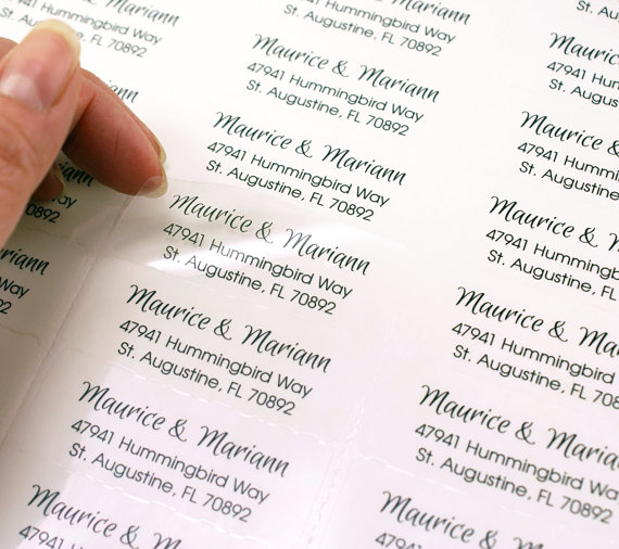 Custom Print CLEAR Return Address Labels For Wedding Invitations Or