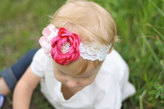 Hochzeit - Custom Flowergirl Headband - Blush/Pink Headband - Ivory Headband - Bridesmaid Headband - Blush Flowergirl - Blush and Ivory Wedding