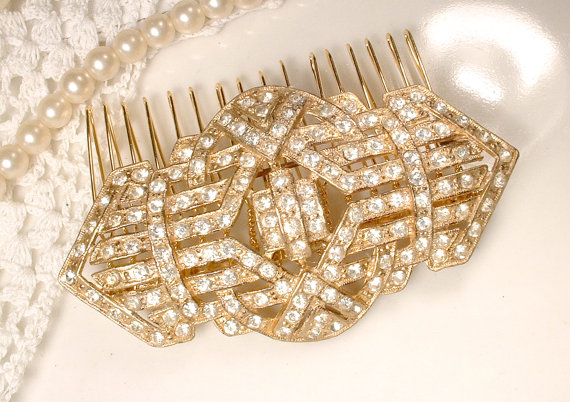 Düğün - Sash Brooch OR HAiR CoMB TRUE Vintage 1920s 1930 Art Deco Pave Rhinestone Gold Bridal Pin or Wedding Hairpiece Accessory, Gatsby Flapper