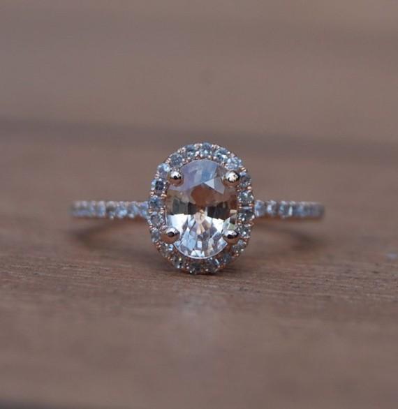 زفاف - Sale - Rose gold engagement ring Peach sapphire diamond ring 14k rose gold oval sapphire