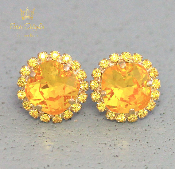 Yellow Earrings Canary Swarovski Stud Sunshine Bridal Bridesmaids Jewelry