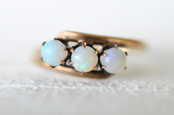 Mariage - SALE --1800's Antique Victorian / 3 Stone Opal 14k yellow gold ring / engagement wedding ring