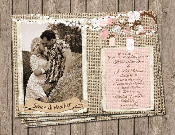 Mariage - Pink, Rustic, Wedding, Invitation, burlap & jars, string of lights, Digital file, Printable