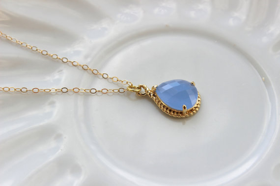 Wedding - Gold Periwinkle Necklace Lavender Blue Teardrop -  Bridesmaid Necklace - Bridesmaid Jewelry - Bridal Wedding - Something Blue