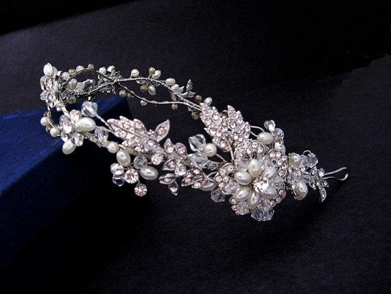 زفاف - Vine flower headpiece, Nature inspired pearl crystal  rhinestone tiara,Floral wedding tiara,Wedding crown,Rhinestone Bridal headband