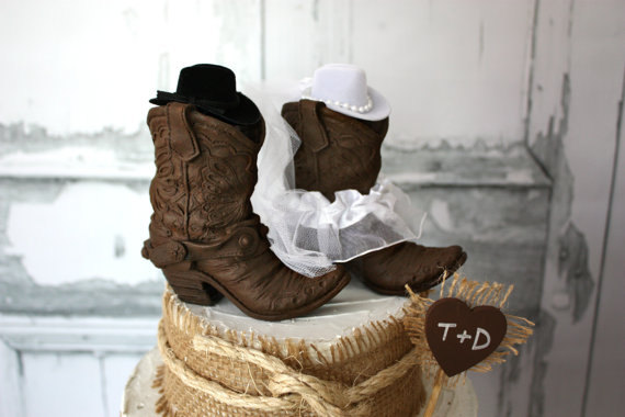 Cowboy Boots Wedding Cake Topper-Rustic Wedding-Western Wedding ...