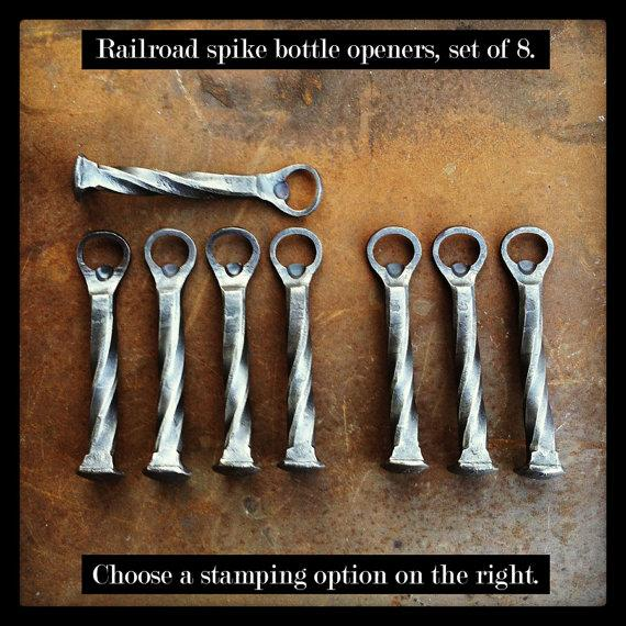 Свадьба - Set of 8 - Groomsmen Gifts - Personalized Railroad Spike Beer Bottle Openers - item B17 - Usher Gift. Father of the Bride. Best man. Favor