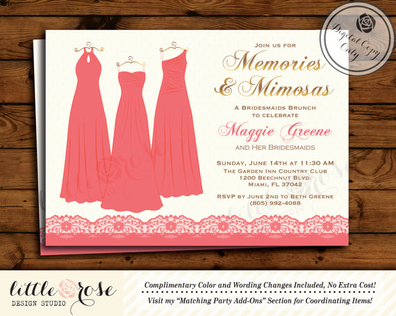 Bridesmaids Brunch Invitation Bridesmaids Luncheon Invite
