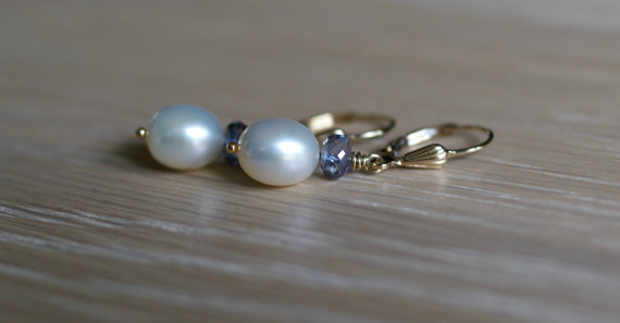 Mariage - Freshwater pearl, blue quartz drop earrings, gold fill lever back ear wires, gift for her, pearl jewelry, bridal earrings, wedding jewelry