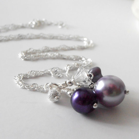 Wedding - Purple Bridesmaid Necklaces Pearl Cluster Pendant Necklace Wisteria and Lapis Wedding Jewelry Bridesmaid Gift Flower Bead Bridal Jewelry