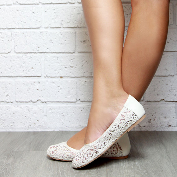 7ee2d31358c8da Lace Ivory ballet flat Shoes. Soft leather inner and lace fabric. Boho and beach  wedding shoe. Style  Pure Shores Flat.
