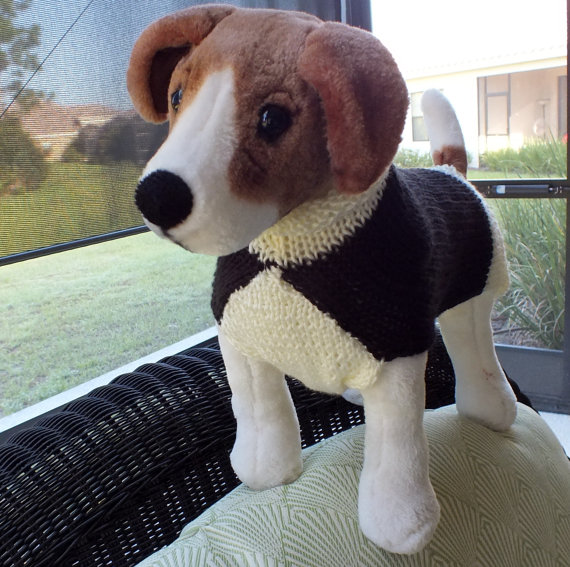 Свадьба - Dog Sweater Hand Knit Tuxedo Small 13 inches long