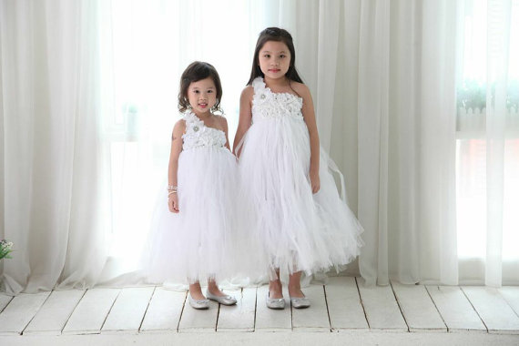 Mariage - Ivory Flower Girl Dress  Ivory Tutu Dress  Junior Bridesmaid