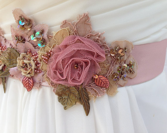 Beaded Lace Bridal Sash Wedding Sash In Dusty Rose Champagne And