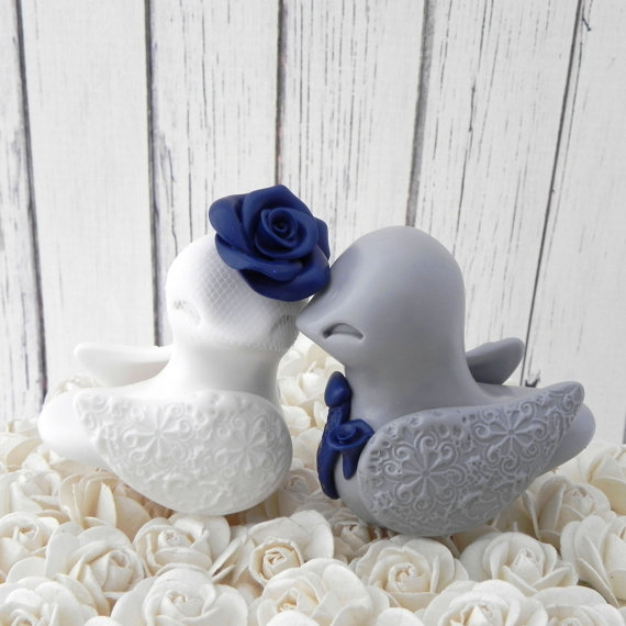 Love Birds Wedding Cake Topper White Grey And Navy Blue Bride And