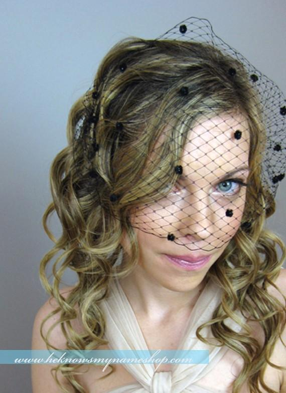 Hochzeit - Wedding Accessories Bridal Birdcage Veil with Chenille Dots (Free U.S. Shipping) - french veil, russian veil, white, black, red