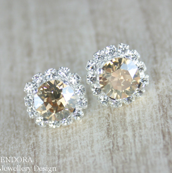 Champagne earring champagne crystal earring champagne for Jewelry for champagne wedding dress