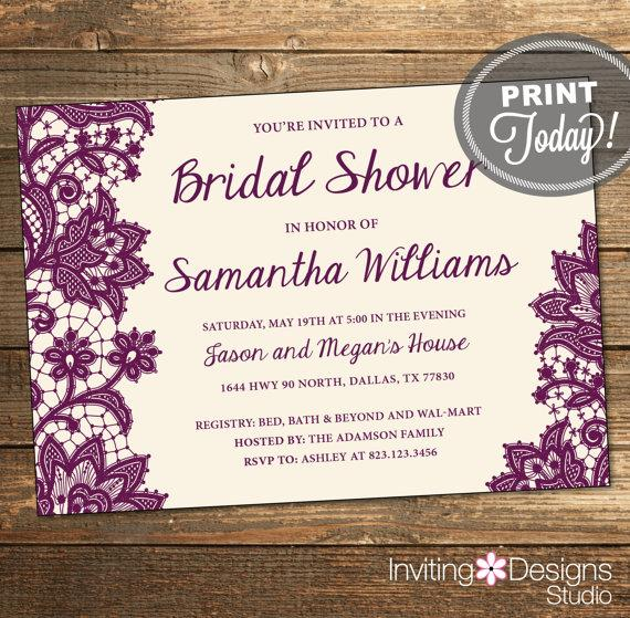 wedding shower invitation bridal shower lace purple eggplant cream background printable file custom order instant download