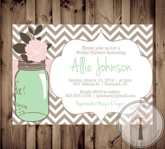 Hochzeit - Mason Jar Invitation, Bridal Shower Invitation, Wedding Shower, Mason Jars, Chalkboard, invite, Invitation