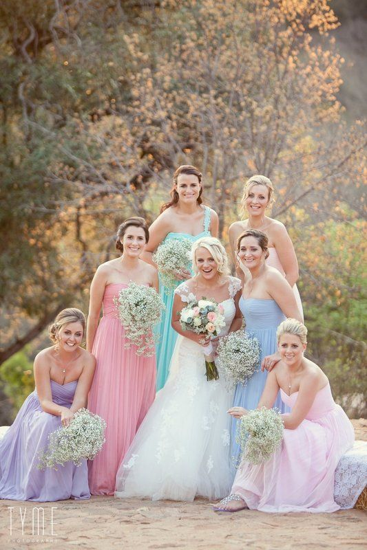 The Prettiest Pastel Bridesmaid Dresses With Baby S Breath Bouquets