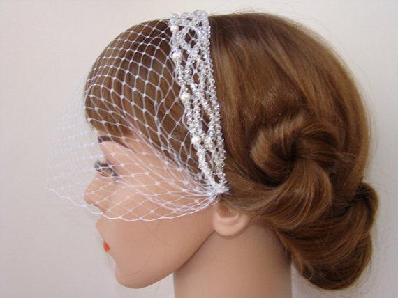 Hochzeit - Bridal Birdcage Veil Pearl - Ivory Birdcage Veil - Bandeau Veil - with Headband - Bird Cage Veil - Blusher Veil