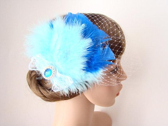 Hochzeit - Blue Headpiece - Something Blue - Blue Fascinator Birdcage Veil - Feather Fascinator - 1920s Headpiece - Blue Bridal Clip Veil - Dolly