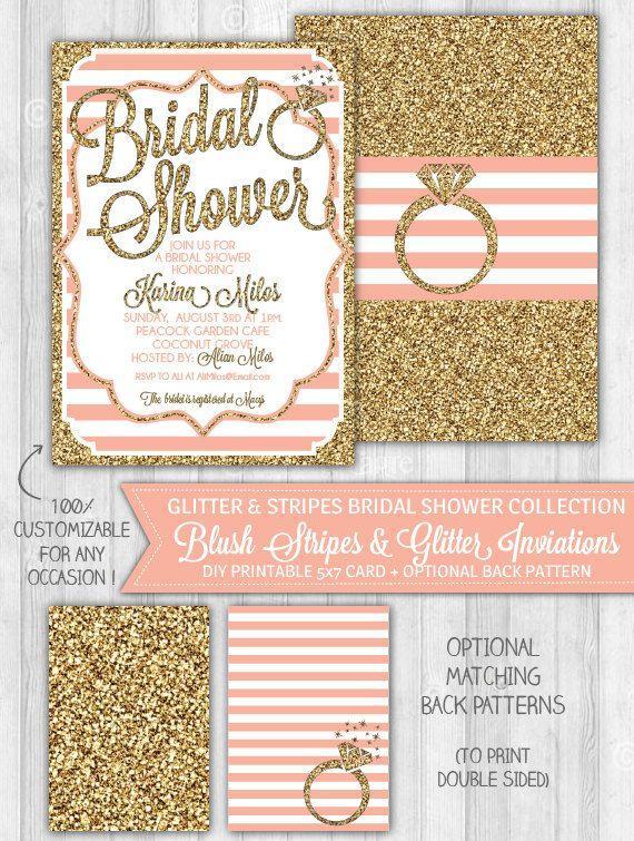 Wedding - Blush Pink & Gold Glitter Bridal Shower Invitation, Bridal Shower Invitation, Pastel Pink Invite - DIGITAL PRINTABLE FILE