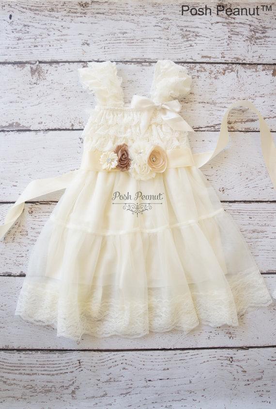 Hochzeit - lace flower girl dress -girls ivory dress - rustic ivory dress- baby ivory dress -toddler dress - girls dresses- dress -flower girl dresses