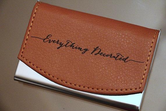 Custom Engraved Leather Business Card Holder Groomsmen Gift Personalized Case Stainless Steel Groomsman Wedding Favor