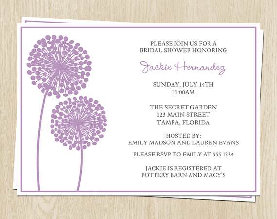 Hochzeit - Floral Bridal Shower Invitations, Purple, Dandelion, Wedding, Set of 10 Printed Cards with Envelopes, FREE Ship, MOFLP, Modern Floral Purple