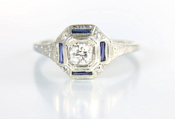 Mariage - Art Deco 14k white gold Diamond Ring sapphire, engagement Edwardian ring jewelry size 6.5