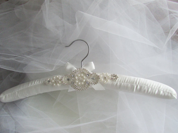 Padded wedding dress hanger white or ivory rhinestone Wedding dress hanger