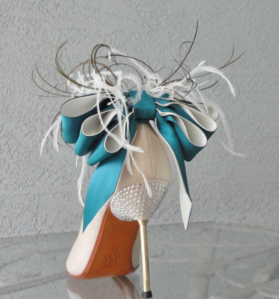 زفاف - Bridal Party Wedding Teal And Ivory Bow And Feather Shoe Clips Set Of Two