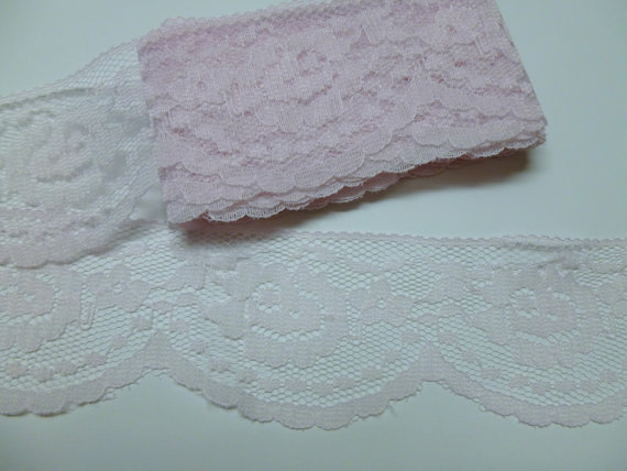 Mariage - Huge Discount 50 Yards Wholesale Soft Pink Flat Lace Trim 2 Inch Wide Scalloped NOW 5.00