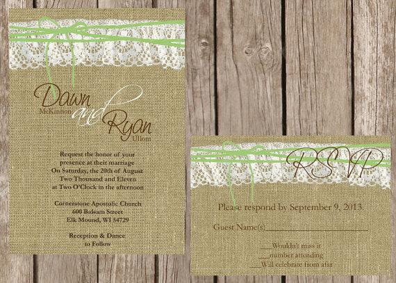 Hochzeit - Rustic Wedding Invitation, Lace and Burlap Wedding Invitation, Custom