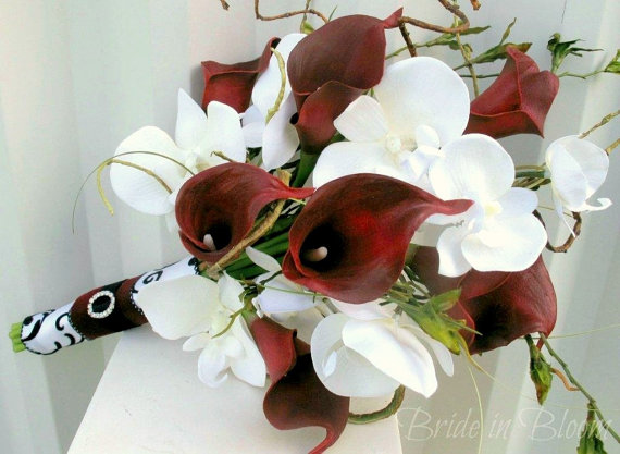 Wedding Bouquet Real Touch Red Calla Lily White Orchid Bridal Silk Flowers Damask
