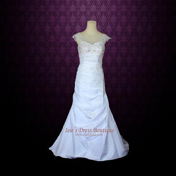 Свадьба - Sweetheart A-line Wedding Dress Slim A-line Wedding Dress with Detachable Cap Sleeves