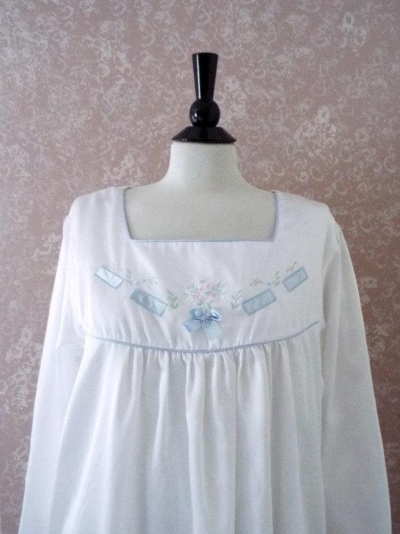 Wedding - Vintage Barbizon Nightgown XL Embroidered Satin Night Shirt Long Sleeve White Nightie Extra Large Unworn New