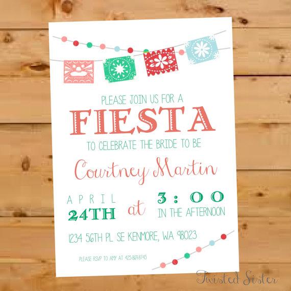 Hochzeit - Mexican Bridal Shower Invitation, Fiesta Bridal Shower Invite, Fiesta Bridal Shower Invitation, Mexican Wedding Shower, Mexican Paper Flag
